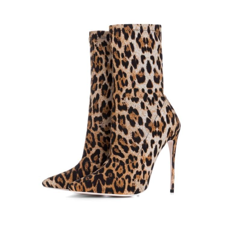 Bottes As Pointu De Bout Mode Robe Date Automne Léopard Personnalisé Femmes Mince Haut Chaussure Chaussures Sexy Dame Picture Botte Talon Courte Talons xzqvRnqYwC
