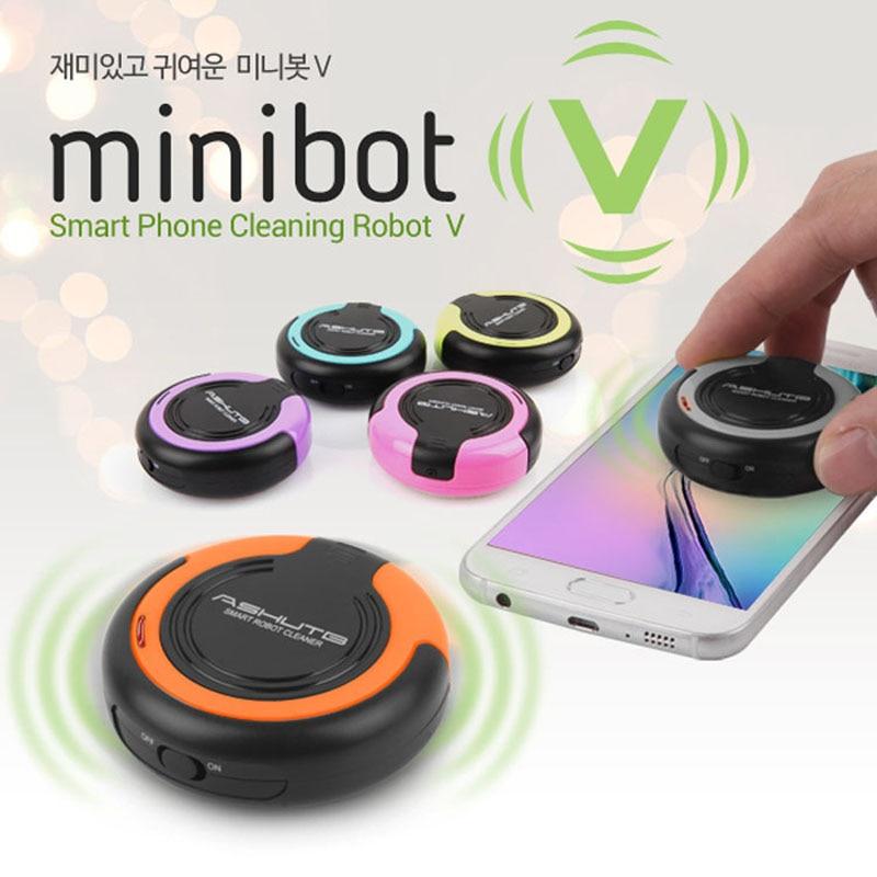 Glorioso Diseño Coreano Minibot V Tableta Universal Smartphone Pantalla Móvil Limpiador Vibratorio Robot Limpiador Para Limpiar Ipad Iphone
