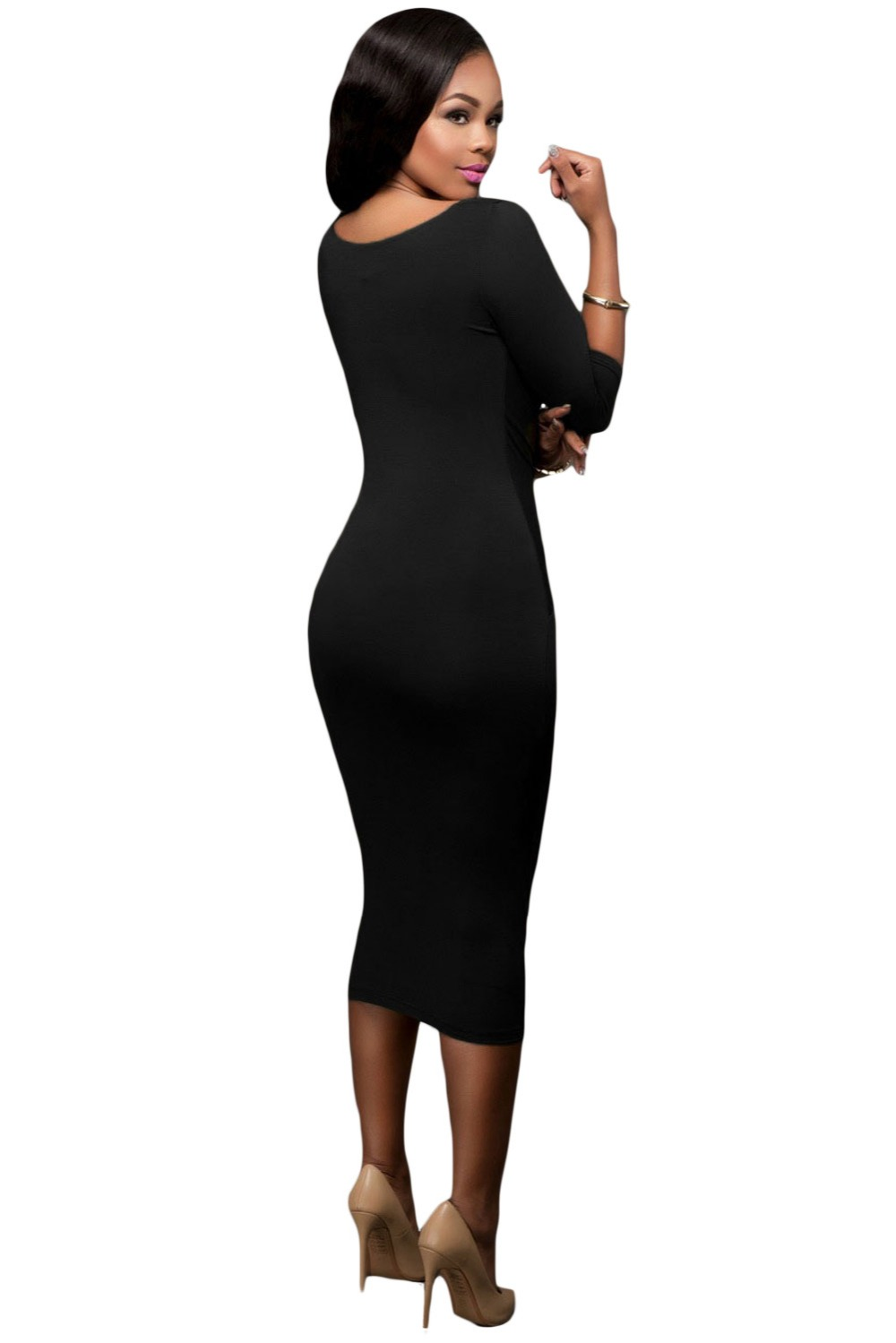 23d64b6f175 Dear Lover Fall 2016 Women Clothes Office Ladies Black Two way V neck  Bodycon Midi Dress Ropa Mujer Vestidos de Inverno LC61204-in Dresses from  Women's ...