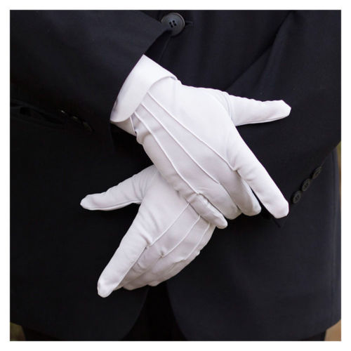 1 Pair White Formal Gloves Tuxedo Guard Parade Santa Mens Fancy Dress Inspection