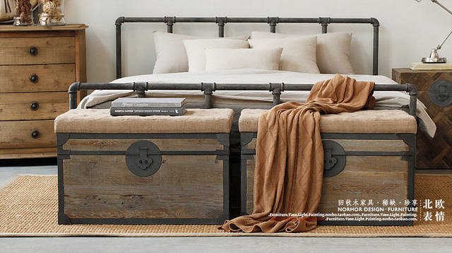 Loft American Country Style Wrought Iron Beds Retro Industrial Pipe Fittings Bed