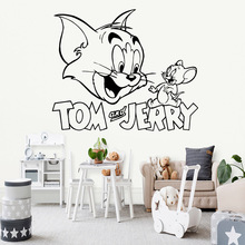 Cartoon Tom and Jerry Wall Stickers Home Decoration Accessories For Cute Kids Room Mural Creative Living Party Decor