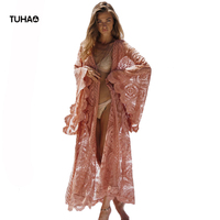 TUHAO Bohemian Cardigans Women Tops Large Size Open Stitch Holiday Beach Lace Cover Ups Long Style Thin Windbreaker Coats TB7588