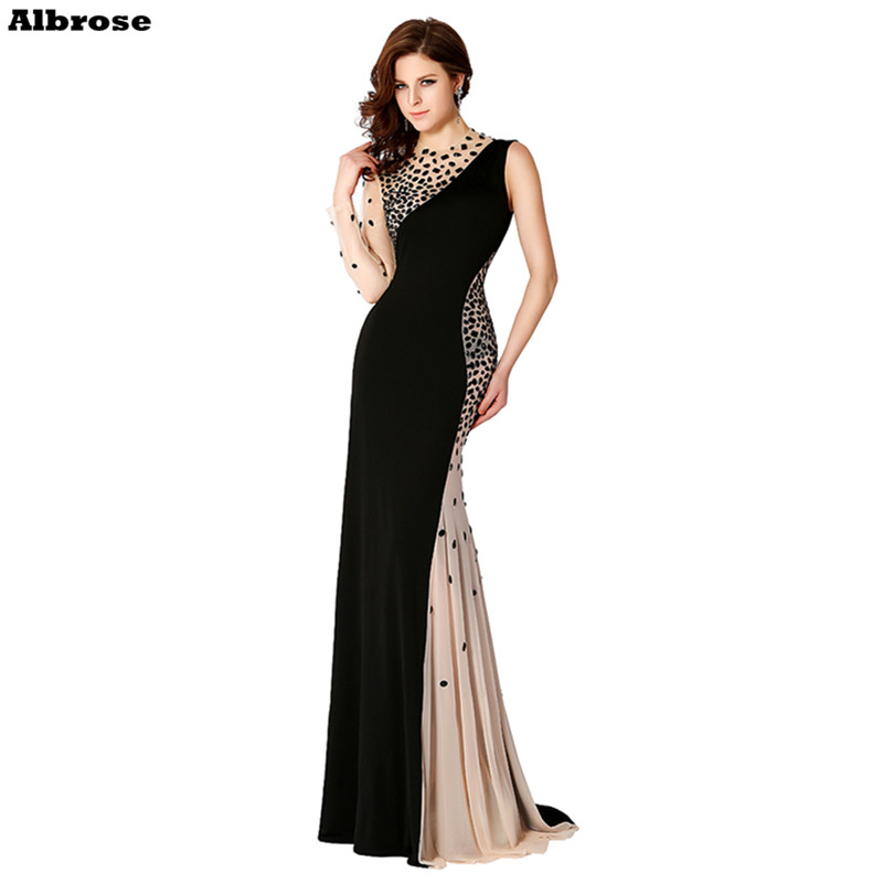 Sexy Mermaid Black Evening Dress One Long Sleeve Elegant Formal