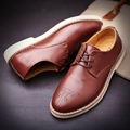YIQITAZER British Style Fashion Brogue Shoes Man Leather,Breathable Oxford Flats Men Shoes Lace Designer Quality Mens Shoes