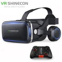 Shinecon 6.0 VR Glasses 3D Virtual Reality Full Immersive Viewing Google Cardboard BOX for 4.7 6Smartphone+MOCUTE 050 Gamepad