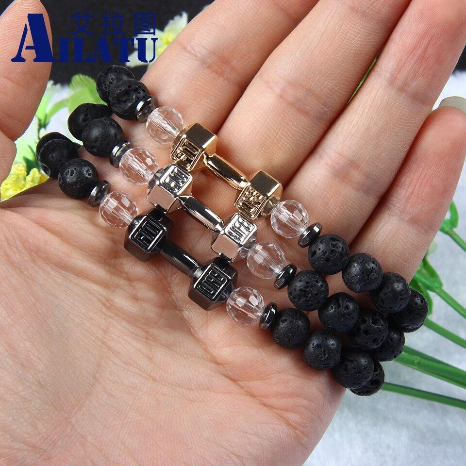 Ailatu 8mm Lava stone Barbell Jewelry Gun Black Fitness Fashion GYM Dumbbell Bracelet, Mens Party Gift