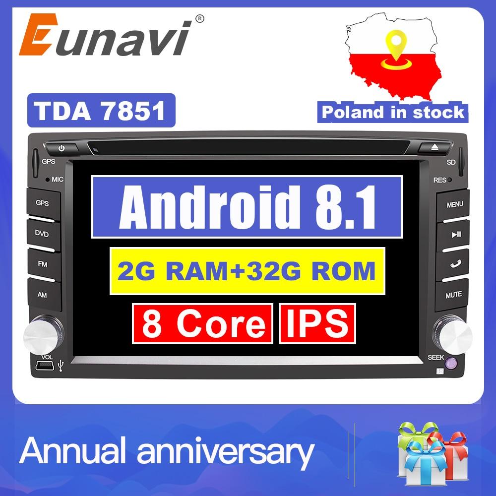 Eunavi Universale 2 Din Android 8.1 Car Dvd Player GPS + wifi + bluetooth + radio + Octa Core + ddr3 + Schermo di Tocco Capacitivo + car stereo