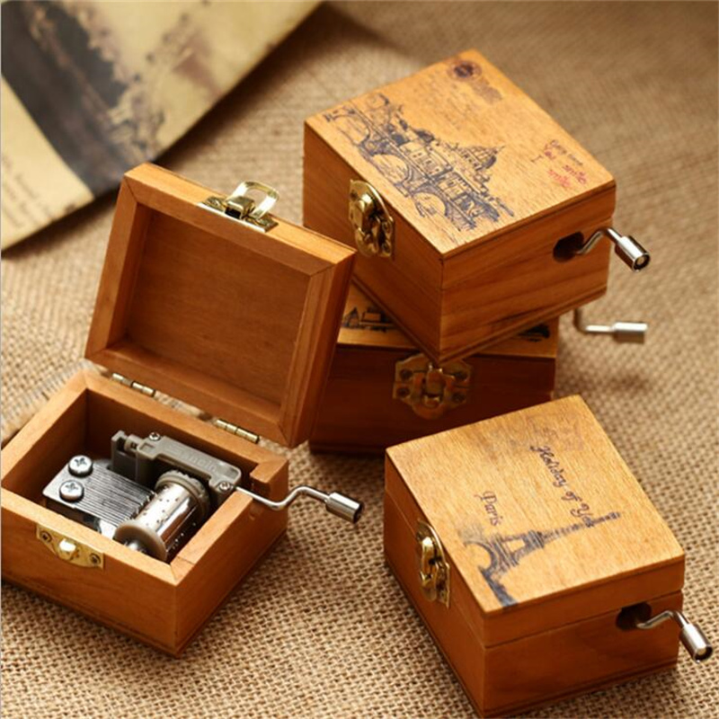 box music wooden musical gift boxes children christmas wood instrument castle happy birthday hand wind sky retro toy crank banggood