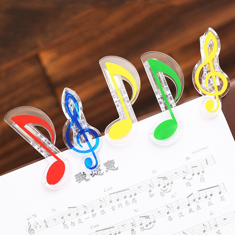 Fast Deliver 2pcs Novelty Musical Note Clips Book Page Clips Kawaii Stationery Papeleria Folder Clip Photos Tickets Notes Letter Paper Clip 100% Original Office Binding Supplies Clips