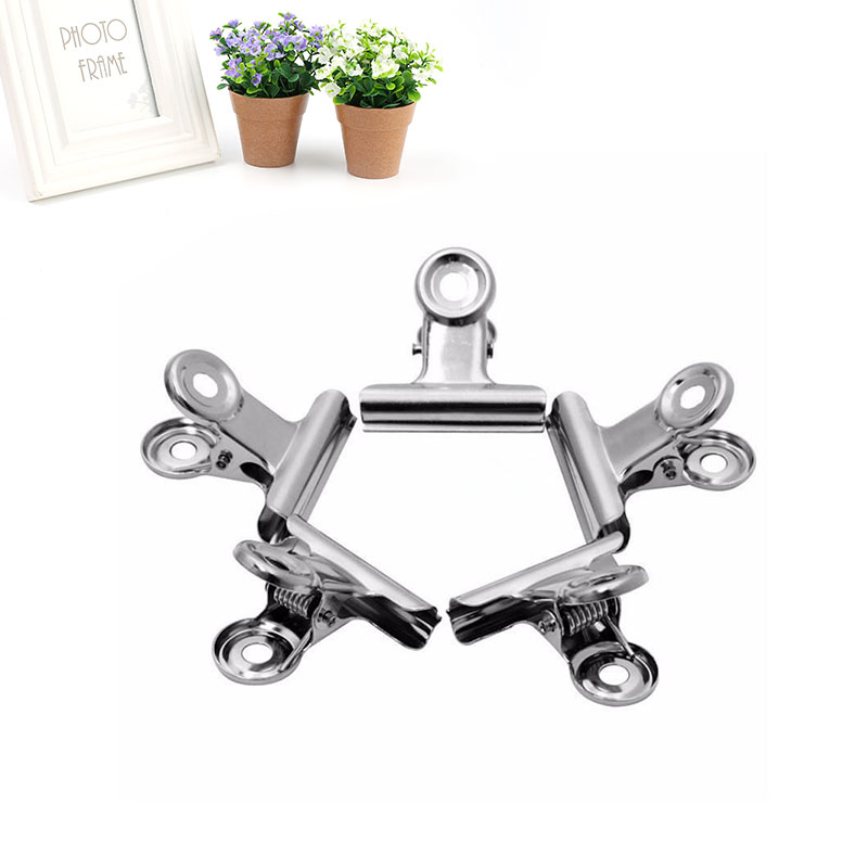 10pcs Mini Bulldog Stainless Steel Silver Metal Paper Letter Binder Clips Tool