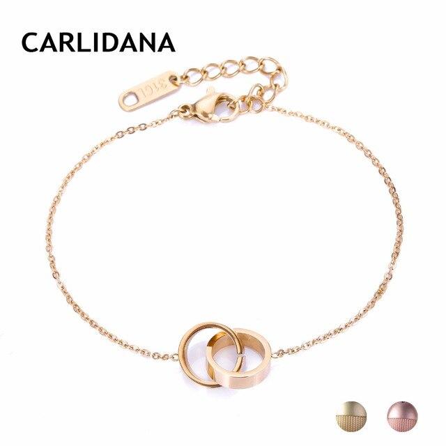 Femme Friendship Bracelets Stainless Steel Pendant Bracelets For Women Gold Color Cross Circle Charm Bracelet CARLIDANA Jewelry