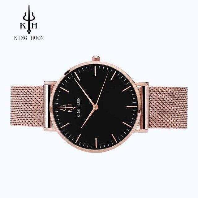 KING HOON Women Watches Top Luxury Brand Rose Gold Silver Leather Steel Quartz Wrist Watch relogio feminino Clock montre femme