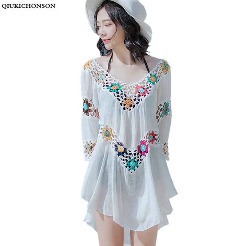 Qiukichonson 2019 Summer Beach Tops Crochet Lace Sun-Proof Tops Hollow Out Women Midi Tshirts V Neck Backless Tees