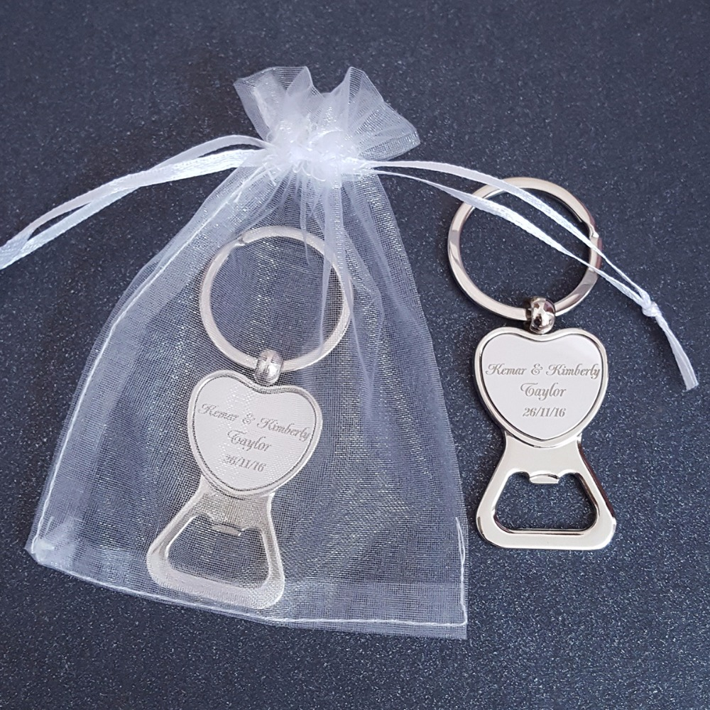 Love heart bottle opener keychain keyring personalized for Bottle opener wedding favor
