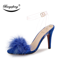 BaoYaFang Summer New arrival Women Sandals Fur High heel Red sole women's party shoes PVC strap fashion shoes female