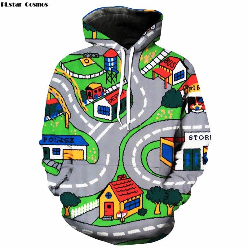 PLstar Cosmos Hoodies Sweatshirts men/women 3D Print Toy Roads Hooded Sweats Tops Streetwear Unisex funny Pullover plus size