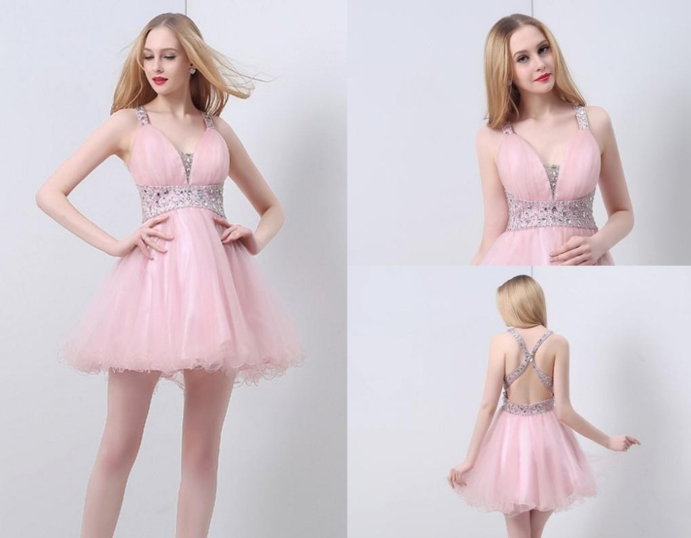 Top Sale High Quality 100% Real Pictures Sweetheart Crystal Beaded Pink Party Prom Dresses Cocktail  Dresses