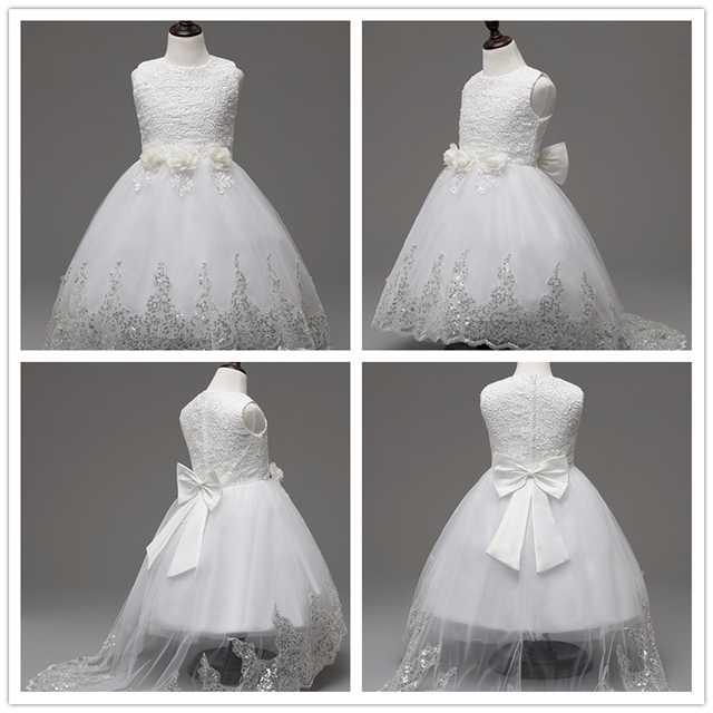 2017 de alta qualidade vestido de princesa meninas vestido de formatura casamento roxo crianças vestido de flor infantil