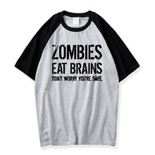 cf97f731f teekossc Crazy Dog Tshirts Zombies Eat Brains So You'Re Safe 100% Cotton  O-neck