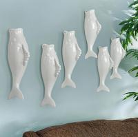 간단한 현대 물고기 창조적 인 벽 꽃병 레스토랑 벽 장식 후크 장식 장식 도매 2 개/