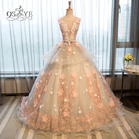 Vintage Ball Gown Long Prom Dresses with Pink 3D Floral Flowers Lace Tulle Formal Evening Dress 2017 Robe de Soiree Custom Made