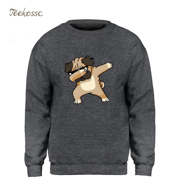 Dabbing Pug Sweatshirt Men Print Funny Hoodie Kpop Hip Hop Crewneck Sweatshirts Winter Autumn Graphics Design Brand Clothing