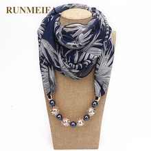 RUNMEIFA New Pendant Scarf Necklace Bohemia Necklaces For Women Chiffon Scarves Pendant Jewelry Wrap Foulard Female Accessories beautiful 925 sterling silver white hetian jade dangle lock style design lucky pendant chain necklace fine jewelry charm gift