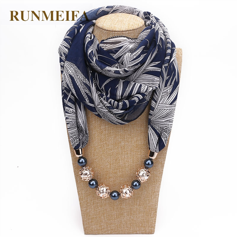 RUNMEIFA New Pendant   Scarf   Necklace Bohemia Necklaces For Women Chiffon   Scarves   Pendant Jewelry   Wrap   Foulard Female Accessories