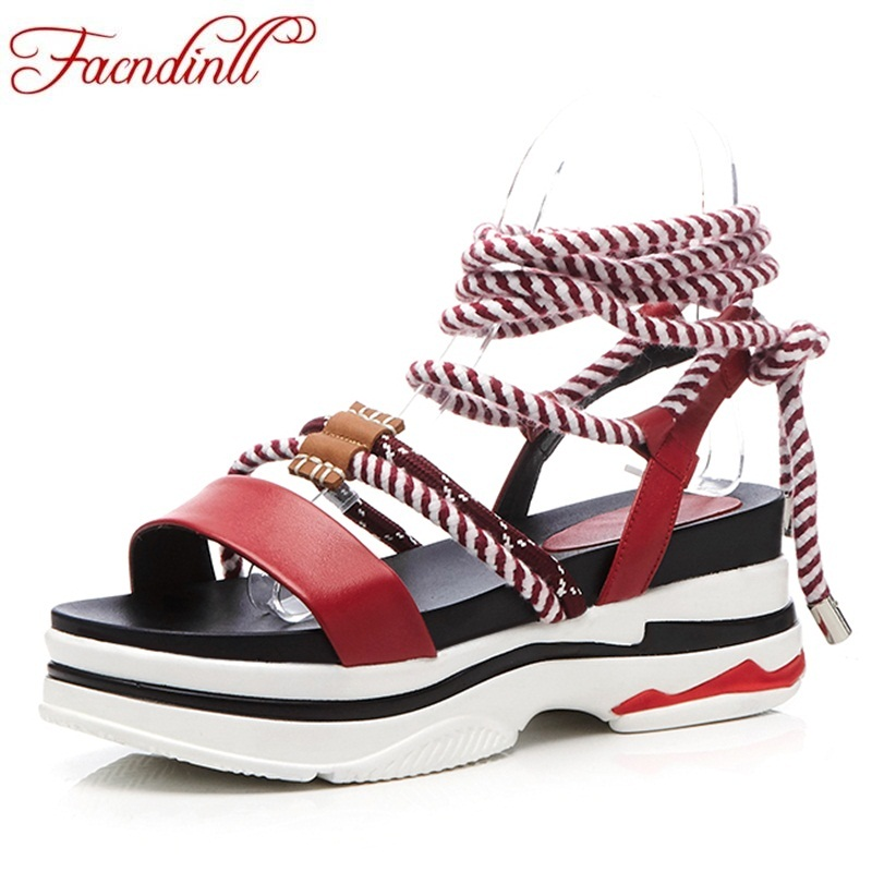 FACNDINLL new fashion summer genuine leather women sandals wedges low heels open toe sho ...