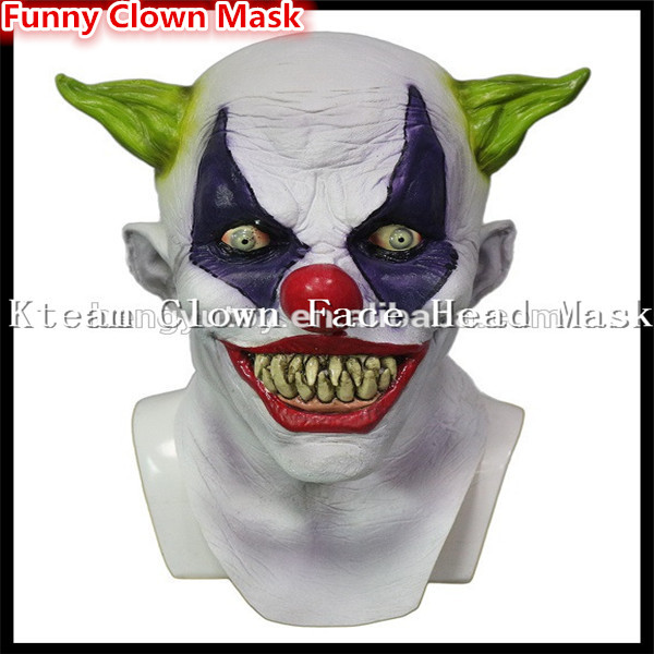free shipping halloween party cosplay funny latex scary clown mask jester joker face mask costume free size dress in stock