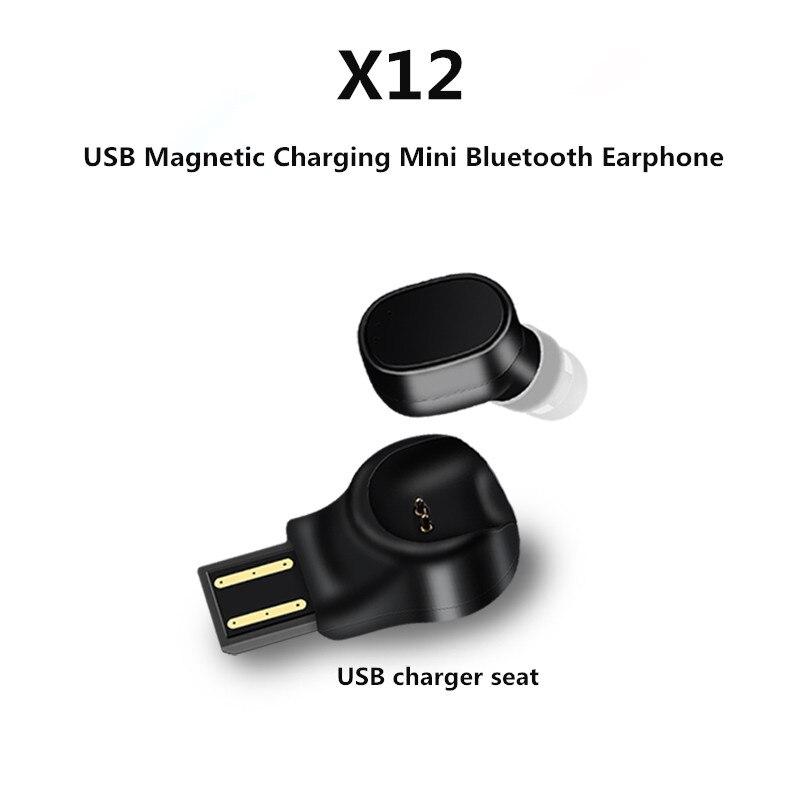 Portable Wireless Bluetooth Headset X12 Car Bluetooth Headphone USB Magnetic Charging Mini