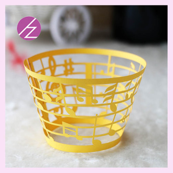 100pcs Laser Cut Carved Note Pattern Cupcake Wrapper Romantic Wedding Decorations Birthday Favor Music Party Supplies
