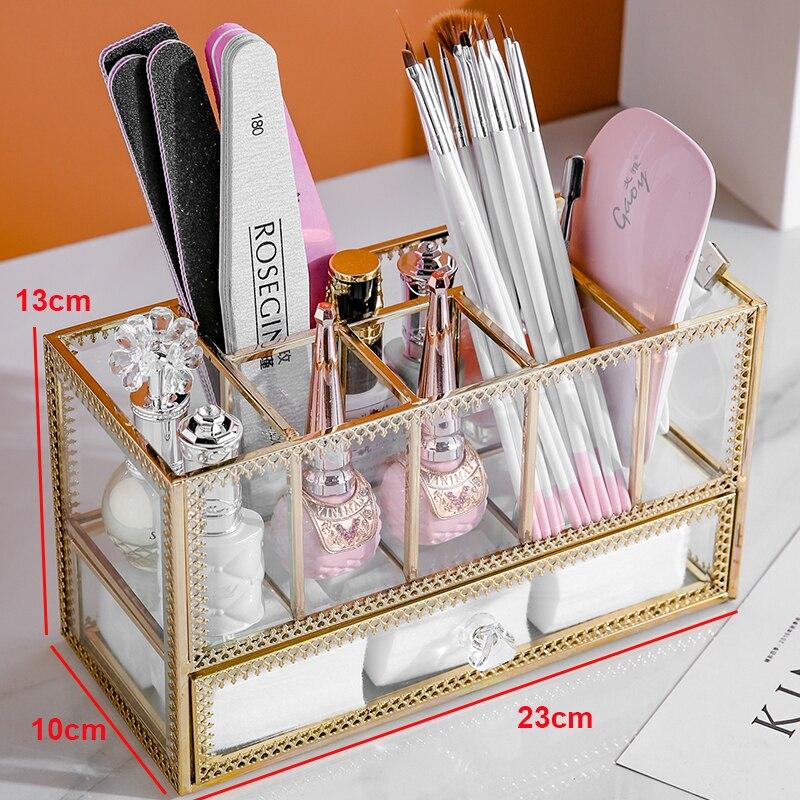 Porte-stylo de maquillage en verre doré porte-pinceaux boîte 6 grilles maquillage pinceaux boîte à stylo avec tiroir peut mettre boîte de distributeur B2264 - 3