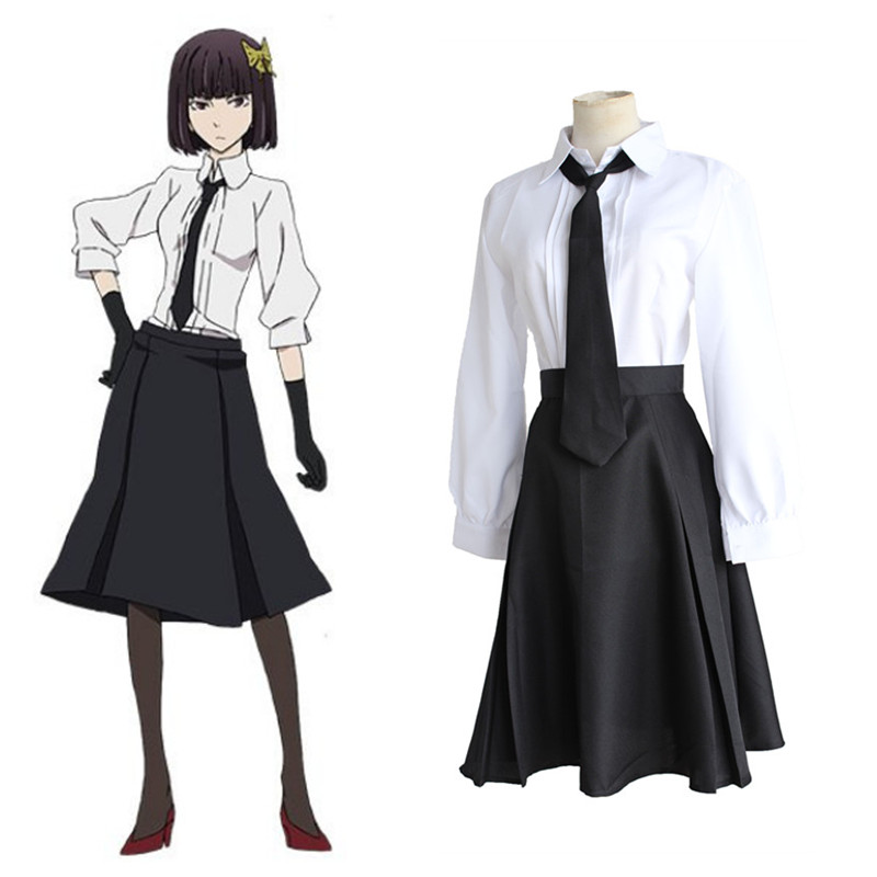 Anime Bungo Stray Dogs Akiko Yosano Cosplay Costume Full Set School Uniform ( Shirt + Skirt + Tie + Gloves ) Size S-XL