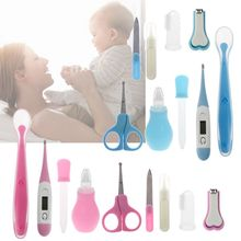9Pcs/Set Baby Health Care Kit Newborn Grooming Nail Clipper ScissorsThermometer Safety Set