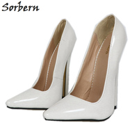 Sorbern Sexy White Women Pumps Fetish High Heel Shoes Slip On Spike High Pointy Toes Runway Womens Shoes Womens Heels Shoes