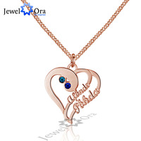 Love Promise Christmas Gift DIY Name Necklace Personalized 925 Sterling Silver Heart Shape Name Necklace JewelOra