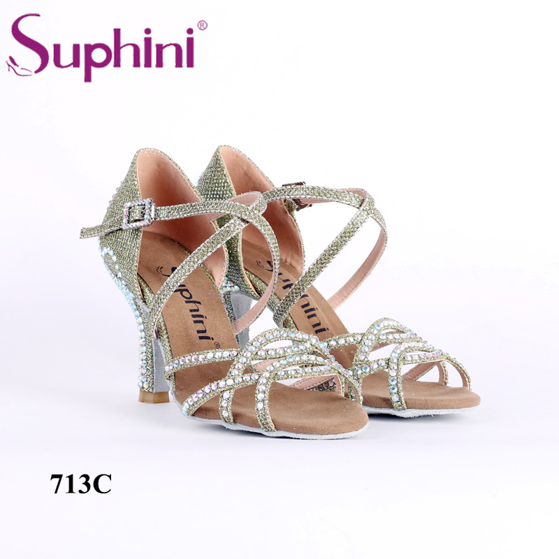 Suphini Special Offer Latin Dance Shoes for Christmas Woman New Style Glitter Dance Shoes Crown type Crystal Latin Dance Shoes цена 2017
