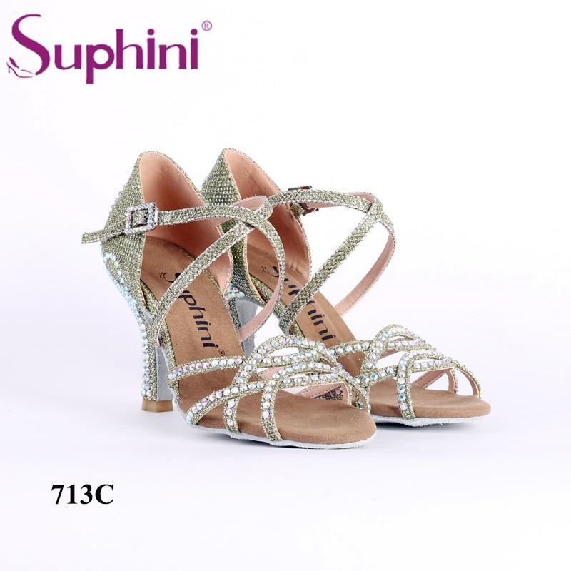 Suphini offre spéciale chaussures de danse latine pour femme de noël nouveau Style chaussures de danse paillettes type couronne chaussures de danse latine en cristal