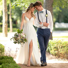 Eightree White Chiffon Beach Wedding Dress V neck Appliqued Lace Princess Gowns Mid Split Party Bridal
