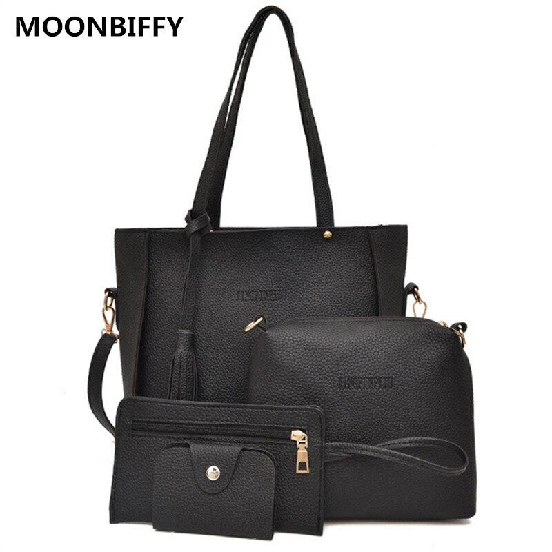 Для женщин сумка комплект Топ-ручка большой Ёмкость женский кисточкой Сумочка Мода Сумка кошелек дамы PU кожаная сумка через плечо