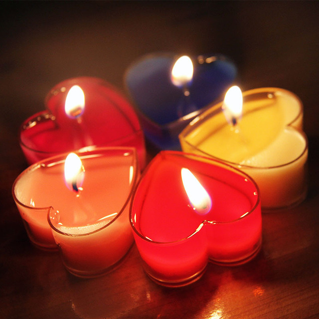 10pc Set Heart Shaped Candles Courtship Courtship