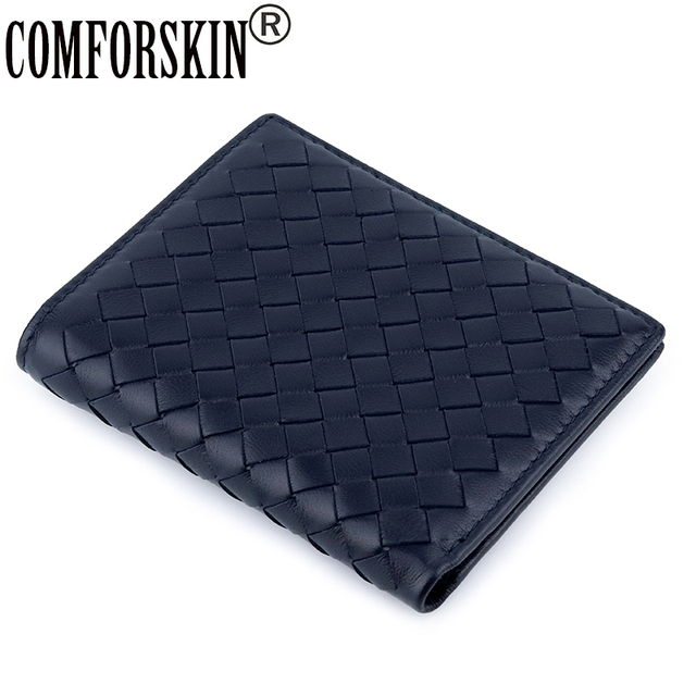 COMFORSKIN Luxury Brand Billetera Masculina Handmade Knitting Sheepskin Leather Mens Purse High Quality Card Wallets For Men