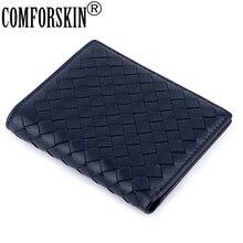 COMFORSKIN lüks marka Billetera Masculina el yapımı örgü koyun derisi deri erkek çanta yüksek kaliteli kart cüzdan erkekler için