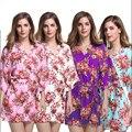 Новый Печати Цветочные Женщины Свадебные Кимоно Халат Сексуальный Короткий Хлопок Спа Ночь Платье Подружки Невесты Халат Халат Ночная Рубашка