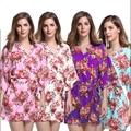New Print Floral Mulheres Nupcial Do Casamento Kimono Robe de Algodão Curto Sexy Spa Noite Vestido de Damas de Honra Vestir Gown Roupão Camisola