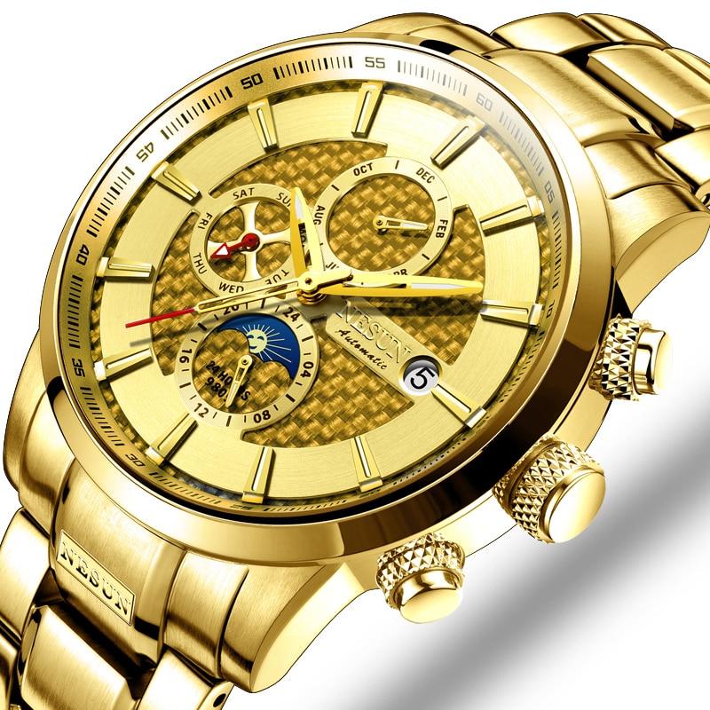 NESUN Luxury Brand Swiss Watch Multifunctional Display Automatic Self-Winding