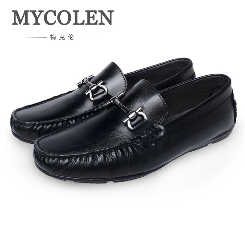 MYCOLEN Men Loafer Shoes Trendy Leather Slip-on Minimalist Design  Loafers Vintage Style Men Driving Casual Flat Shoes bimuduiyu new england style men s carrefour flat casual shoes minimalist breathable soft leisure men lazy drivng walking loafer