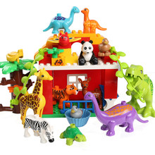 Newest Duploe Animal Zoo Big Building Blocks Animals Lion Giraffe Dinosaur Compatible LegoINGly Blocks Toys For Children Gift(China)